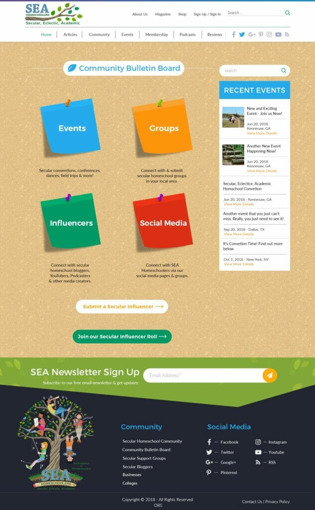 SEA Homeschoolers Community Board Page