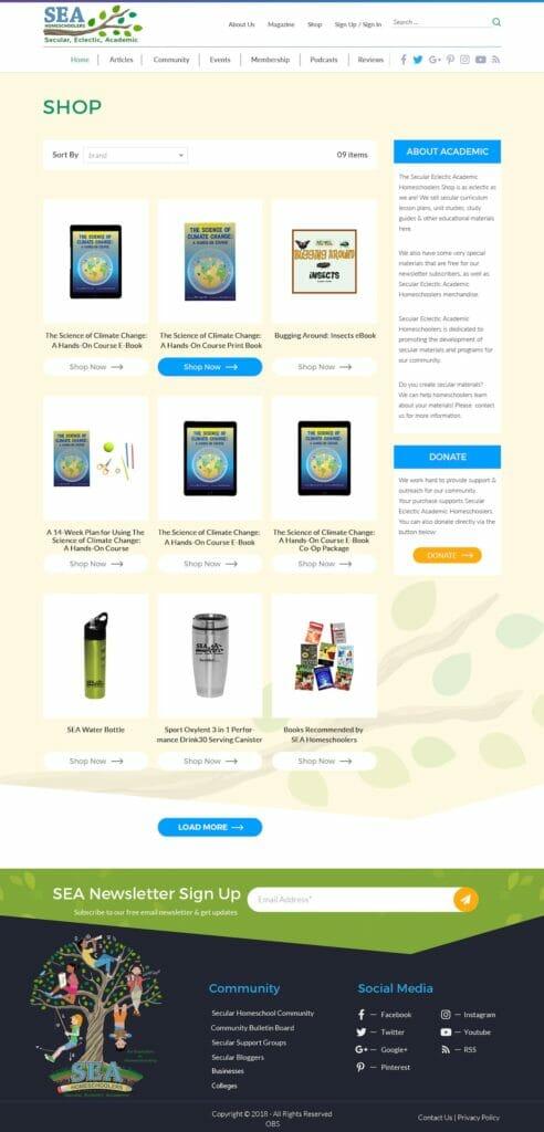 SEA Homeschoolers Shops Page