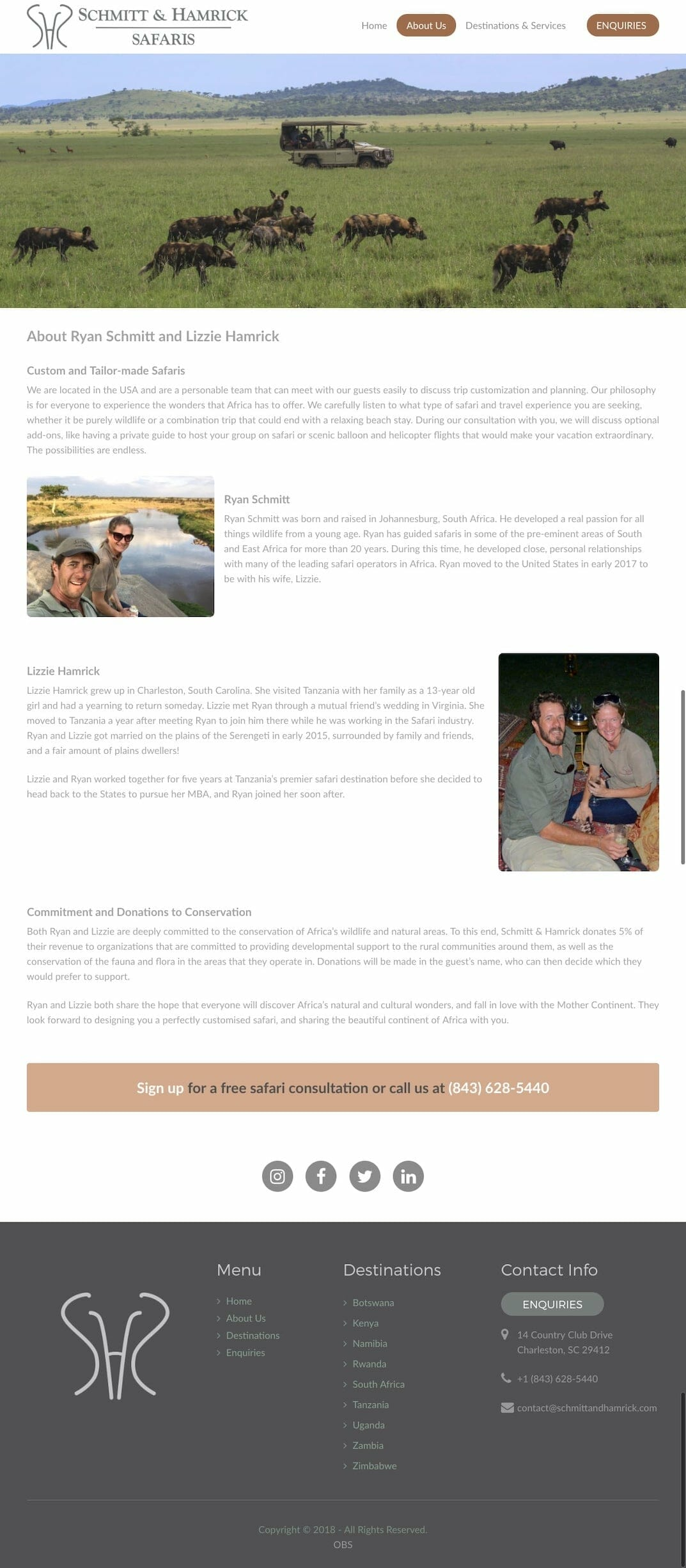 Schmitt & Hamrick Safaris About Us Page