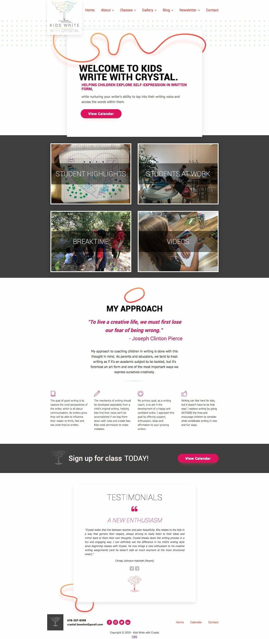 Kids Write with Crystal Homepage