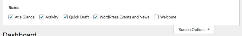 WordPress Dashboard Screen Options