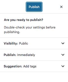 Gutenberg Publish Options