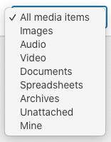 WordPress Media Filter List