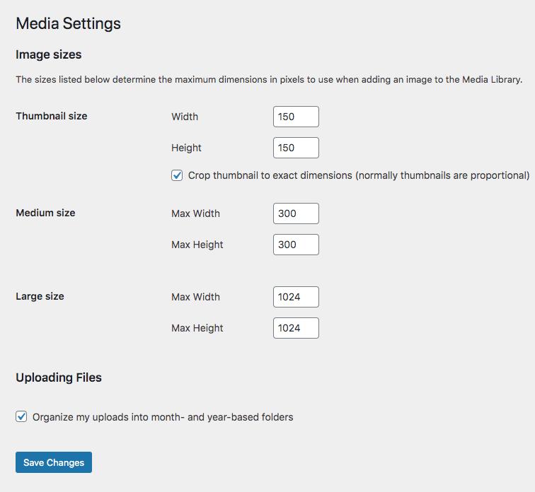WordPress Media Options